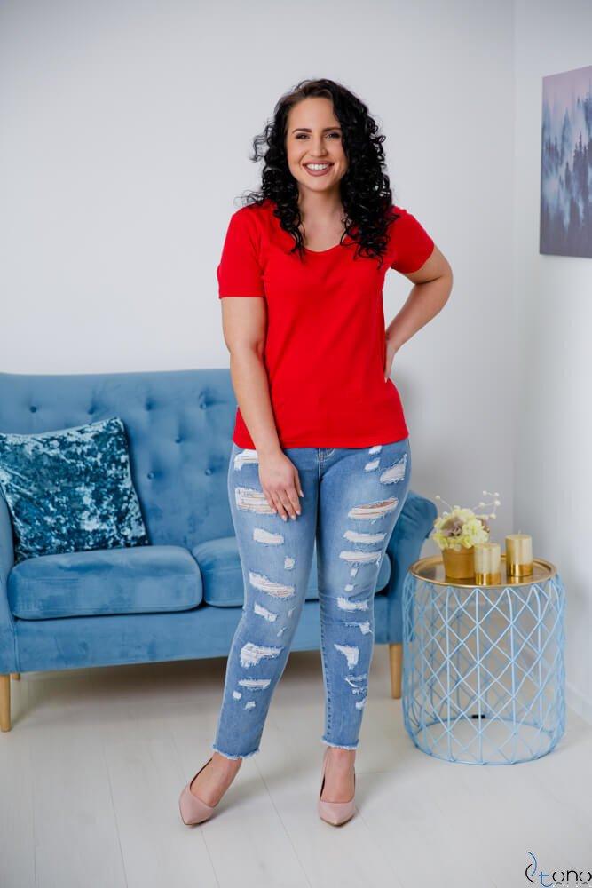 Czerwona Bluzka damska DETRRA T-Shirt Plus Size