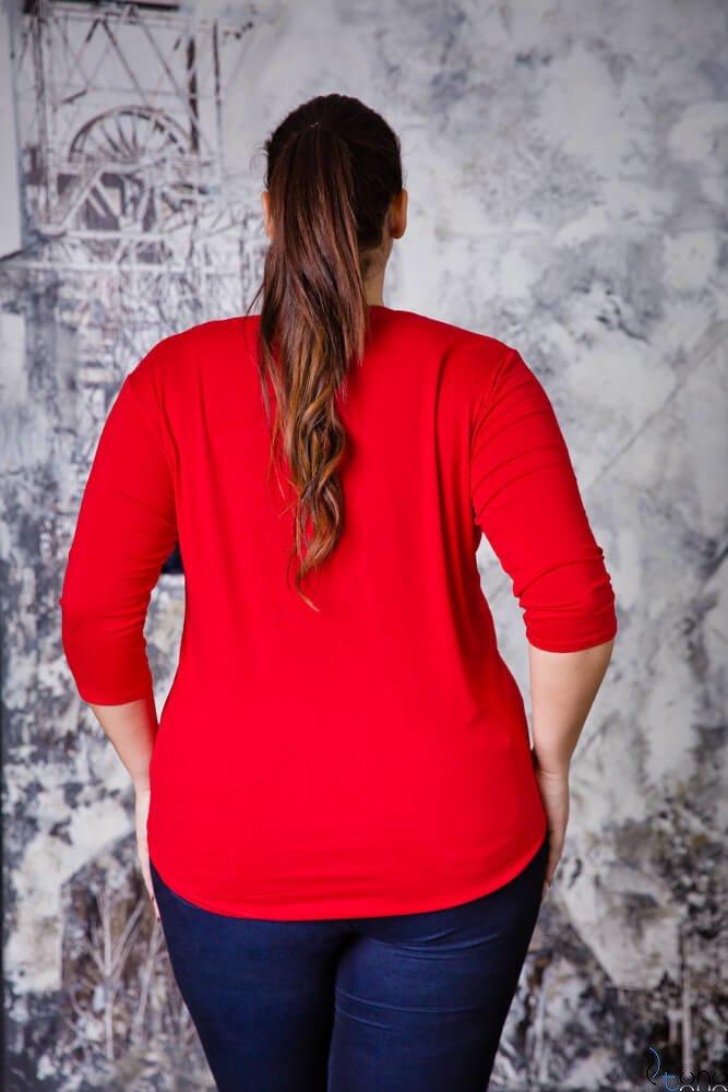 Czerwona Bluzka damska FESTIVA Plus Size