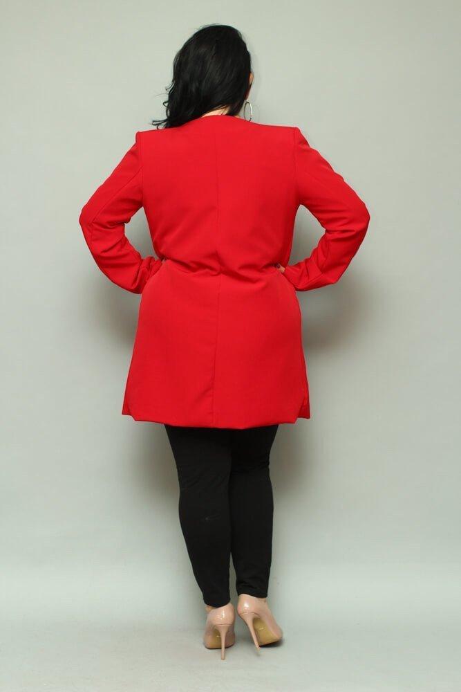 Czerwona Płaszcz damski LUKKA Plus Size Kardigan