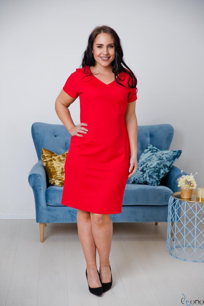 Czerwona Sukienka CARISMA Plus Size