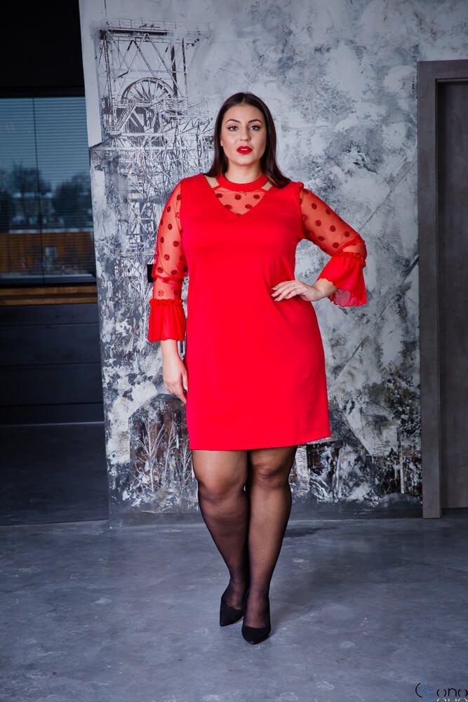 Czerwona Sukienka CASCADA Plus Size Wizytowa