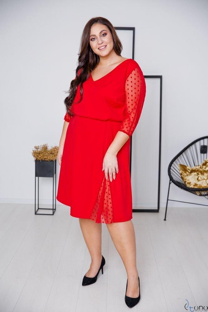 Czerwona Sukienka INGA Plus Size