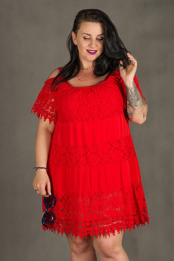 Czerwona Sukienka KLEO Koronka Plus Size