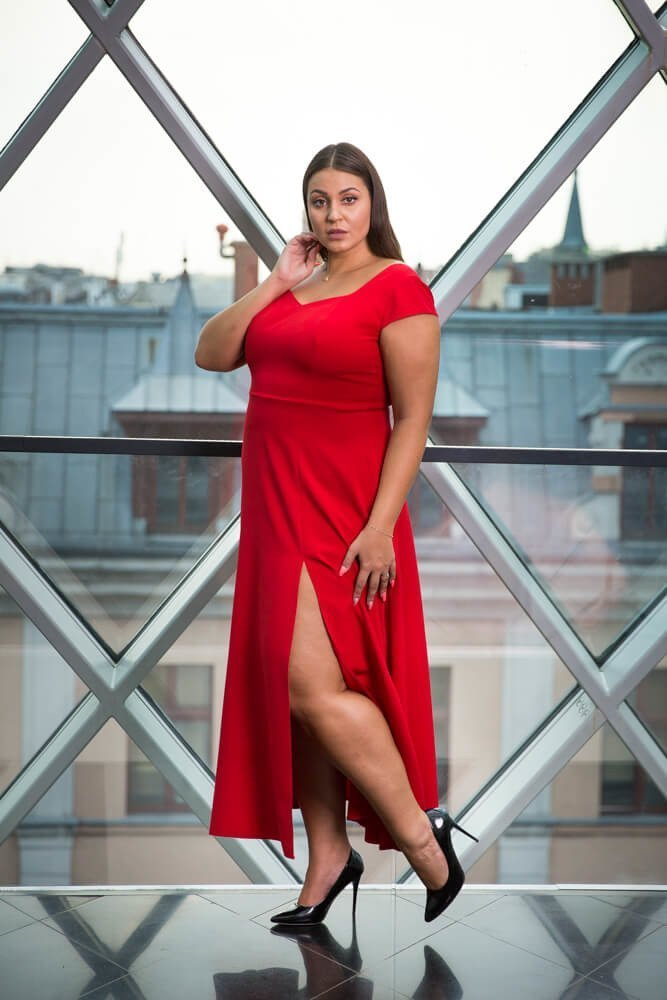 Czerwona Sukienka NANCY Plus Size