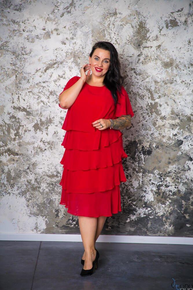 Czerwona Sukienka ORINA Plus Size