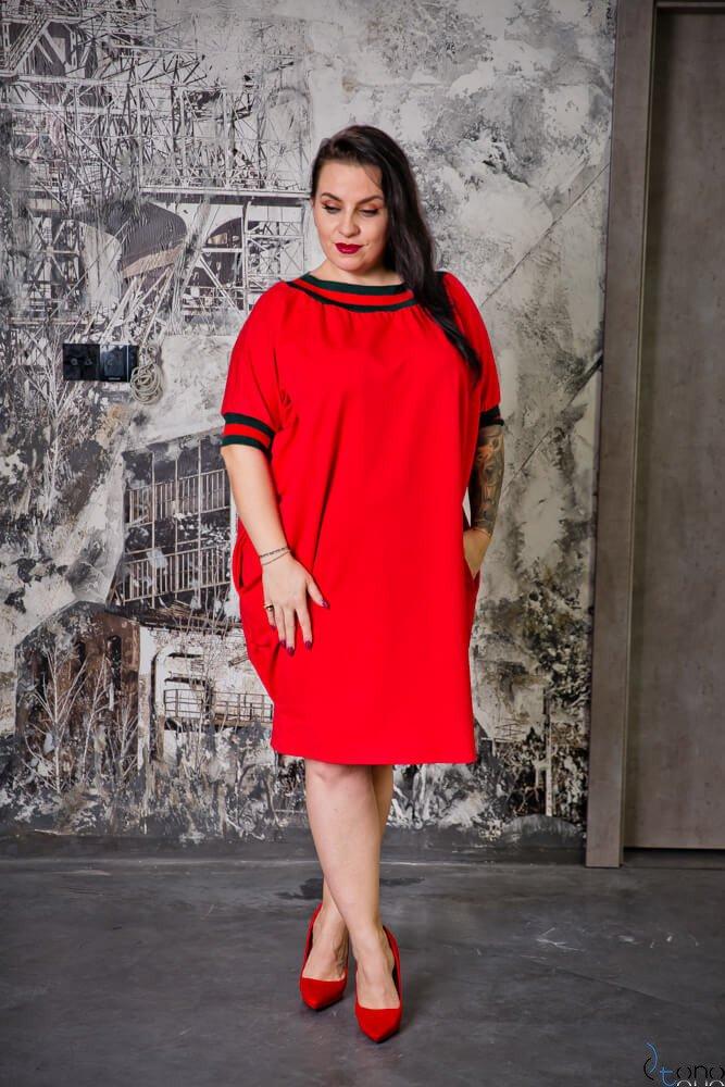 Czerwona Sukienka SEPPI Plus Size
