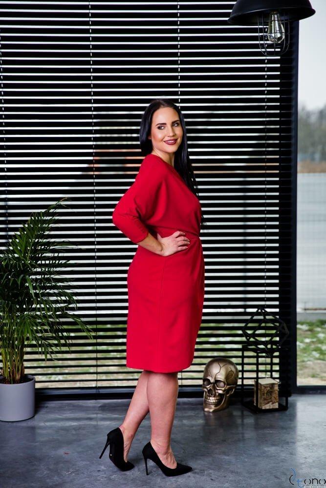 Czerwona Sukienka SOFIJA Plus Size