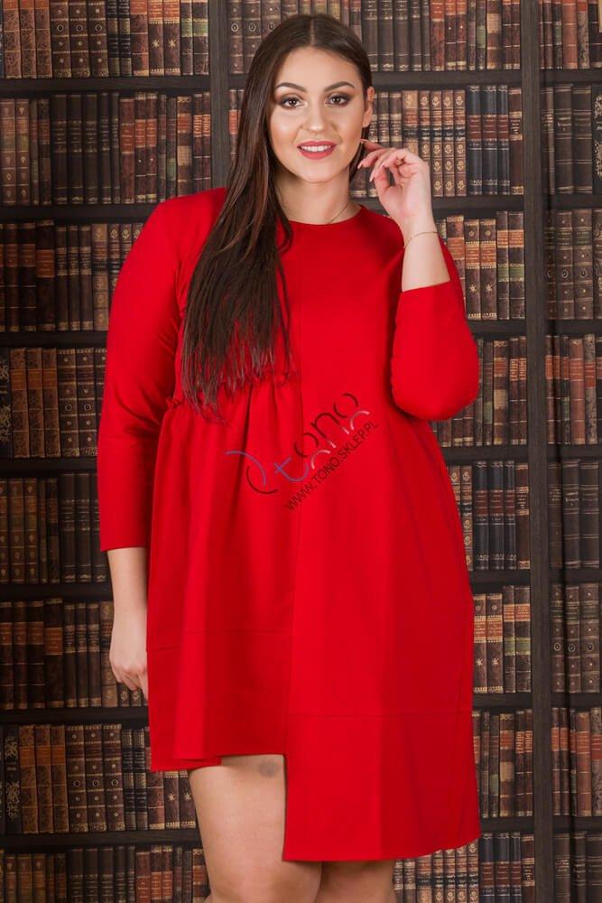Czerwona Sukienka damska VIVIAN Designerska Plus Size