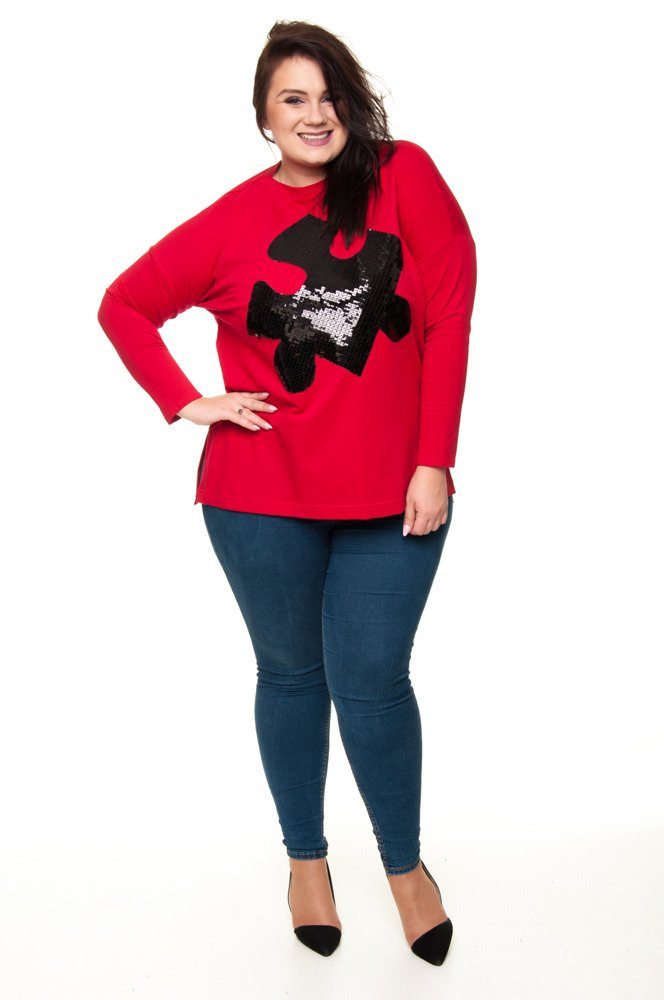 Czerwona Tunika PUZZLE Size Plus Cekiny