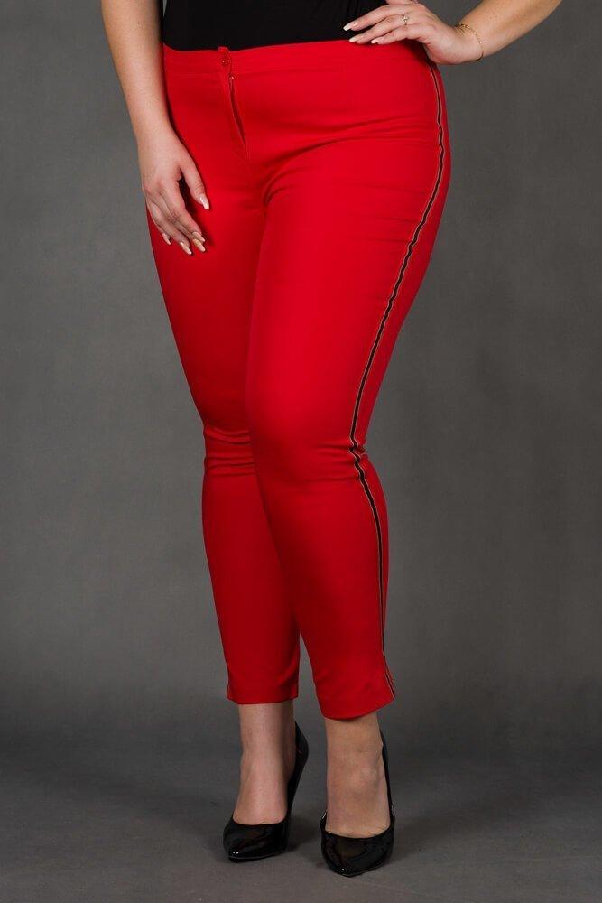 Czerwone Spodnie RITMO Lampas Plus Size