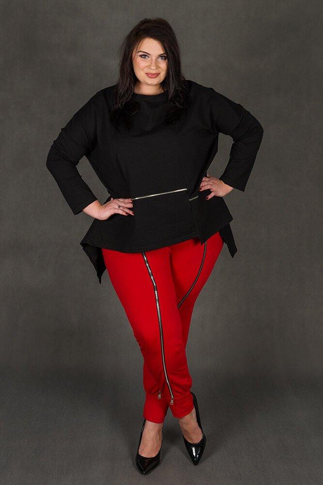 Czerwone Spodnie RUSTY Dresowe Designerskie Plus Size