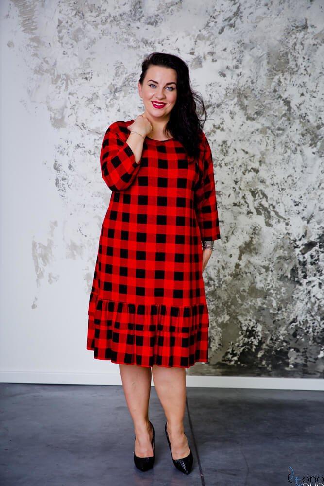 Czerwono-czarna Sukienka TUSYA Falbanka Plus Size