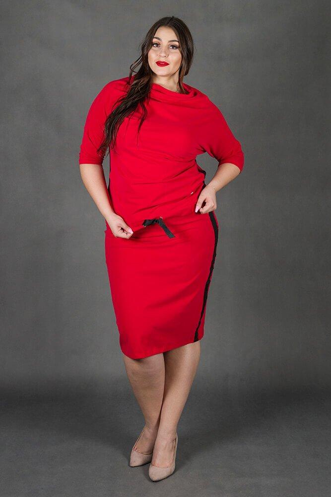 Czerwony Komplet RIA Bluzka Spódnica Plus Size