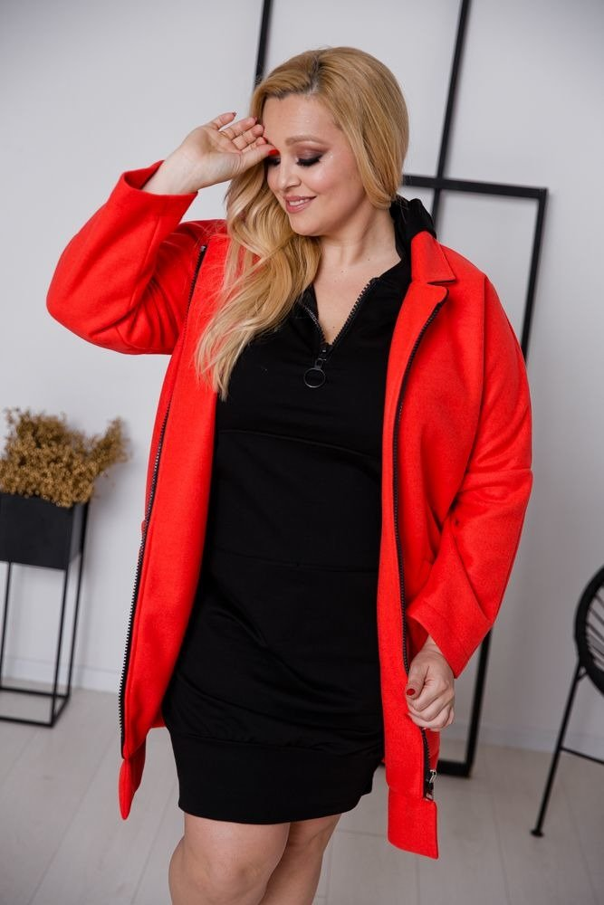 Czerwony Płaszcz BLAIR Plus Size