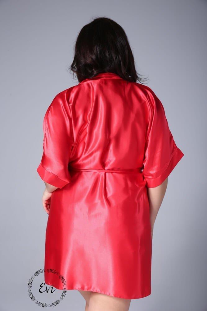 Czerwony Szlafrok AMY Satynowy Plus Size