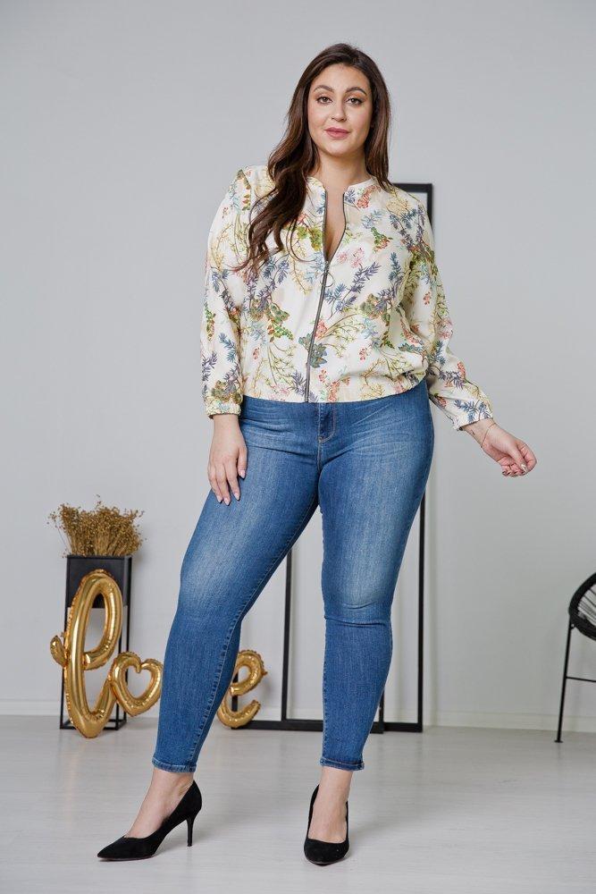 Ecru Bluza ENCARA Plus Size Bomberka