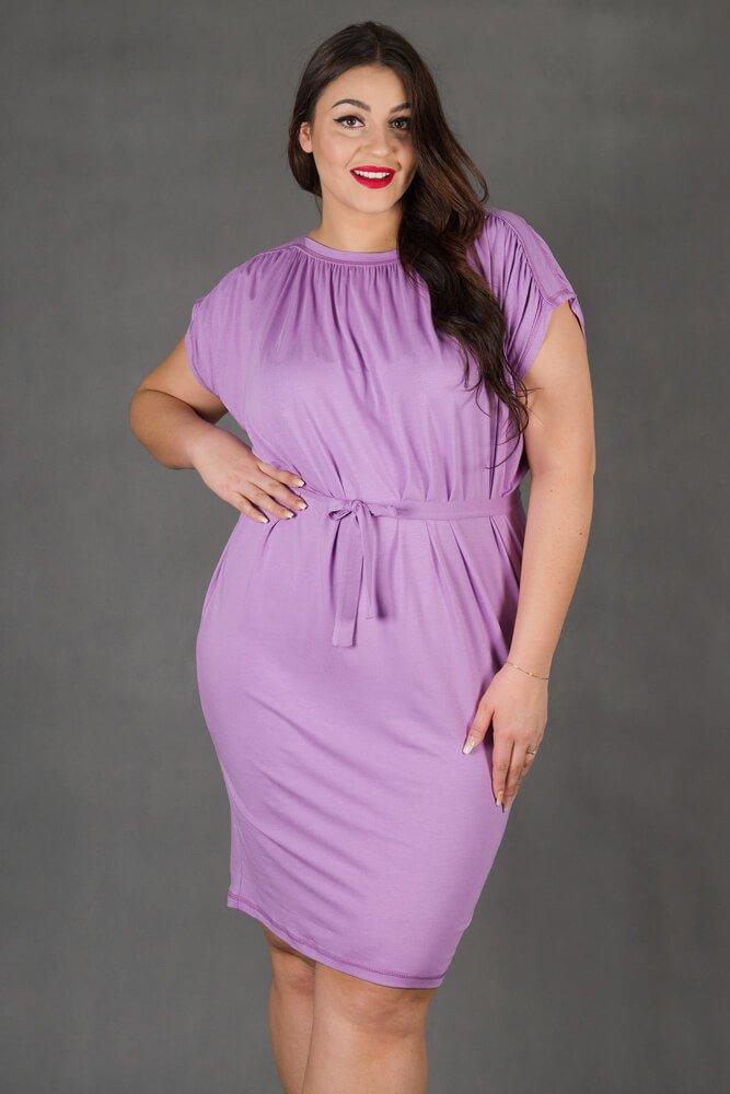 Fioletowa Sukienka SEMPRE Plus Size Drapowana