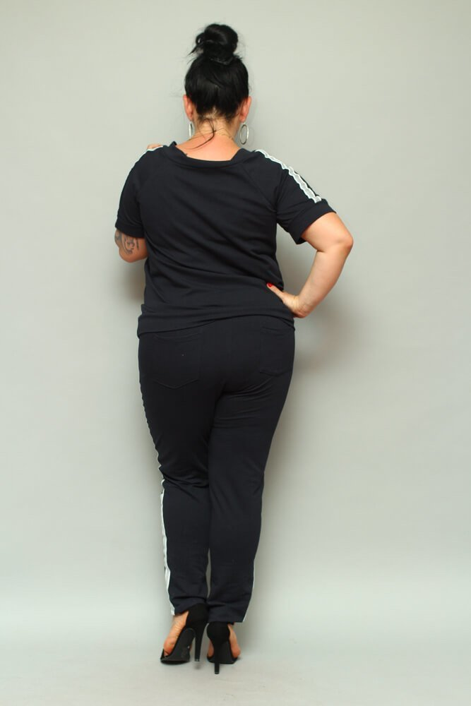 Granatowa Bluza ASTRA Dresowa Plus Size
