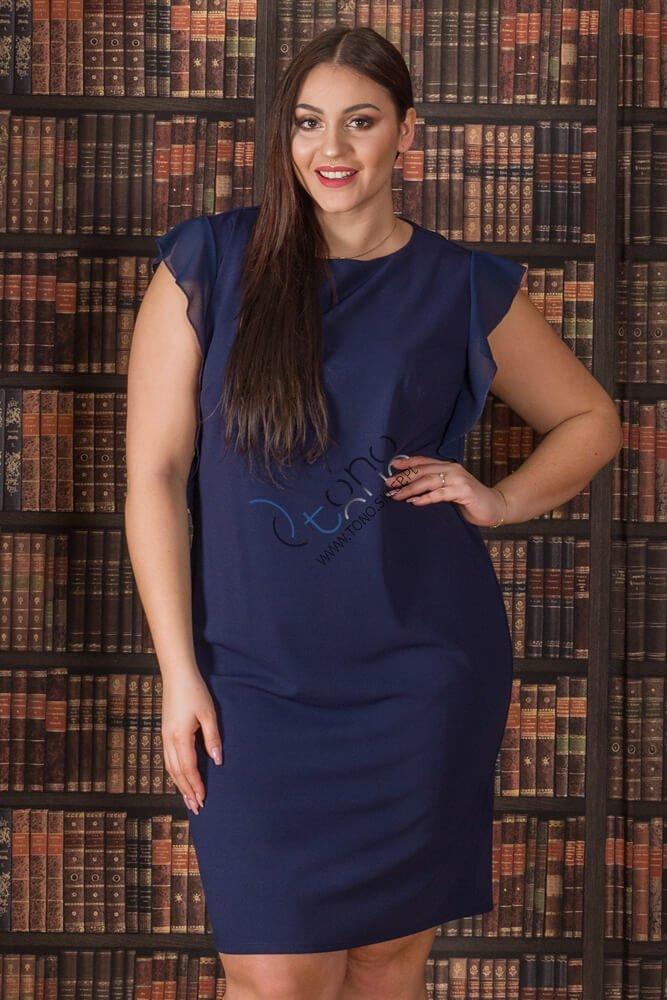 Granatowa Sukienka ANETT Ołówkowa Plus Size