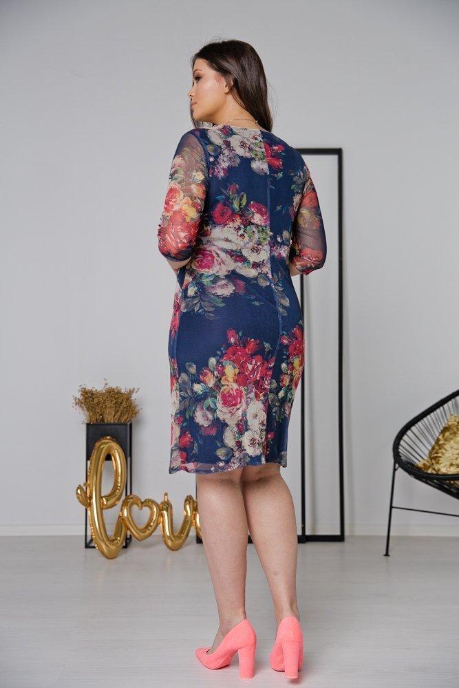 Granatowa Sukienka DORMA Plus Size Wzór 4