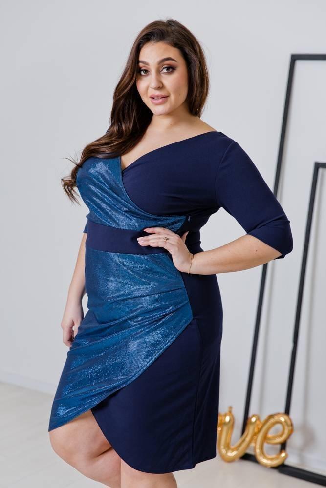 Granatowa Sukienka DRIMA Plus Size
