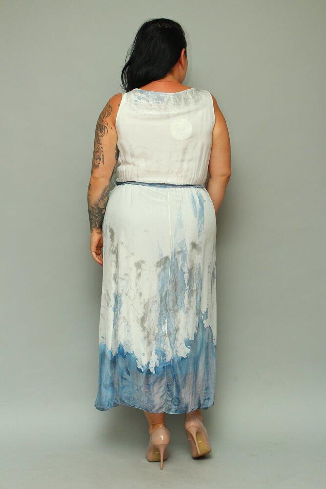 Granatowa Sukienka FABRICIA Letnia Odcinana
