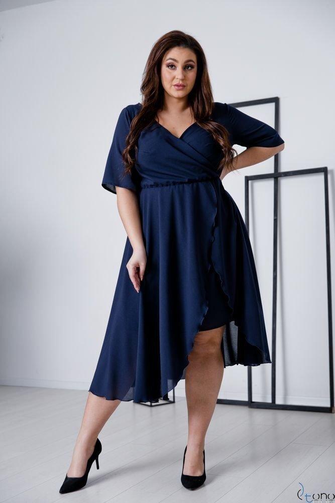 Granatowa Sukienka LIREN Plus Size