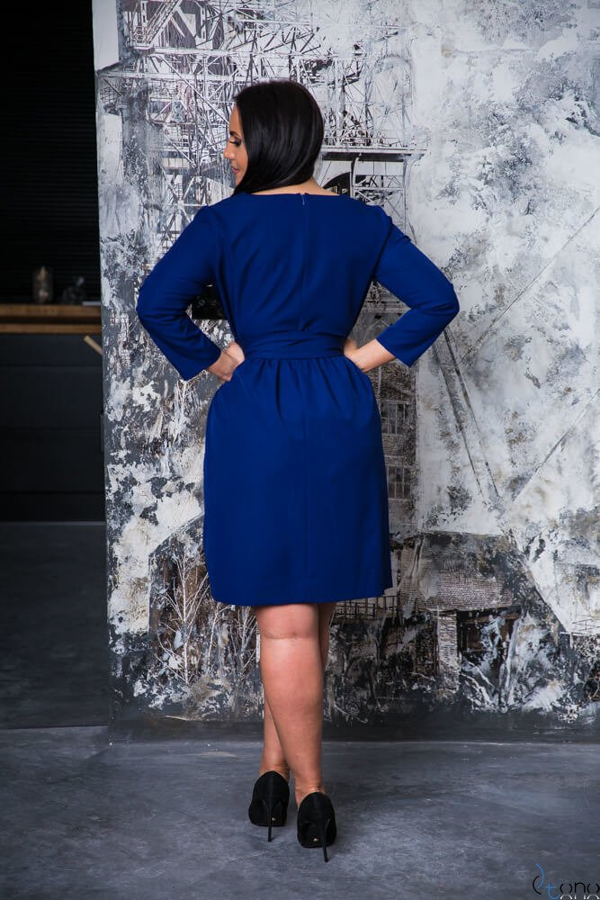 Granatowa Sukienka MAKAN Kopertowa Plus Size