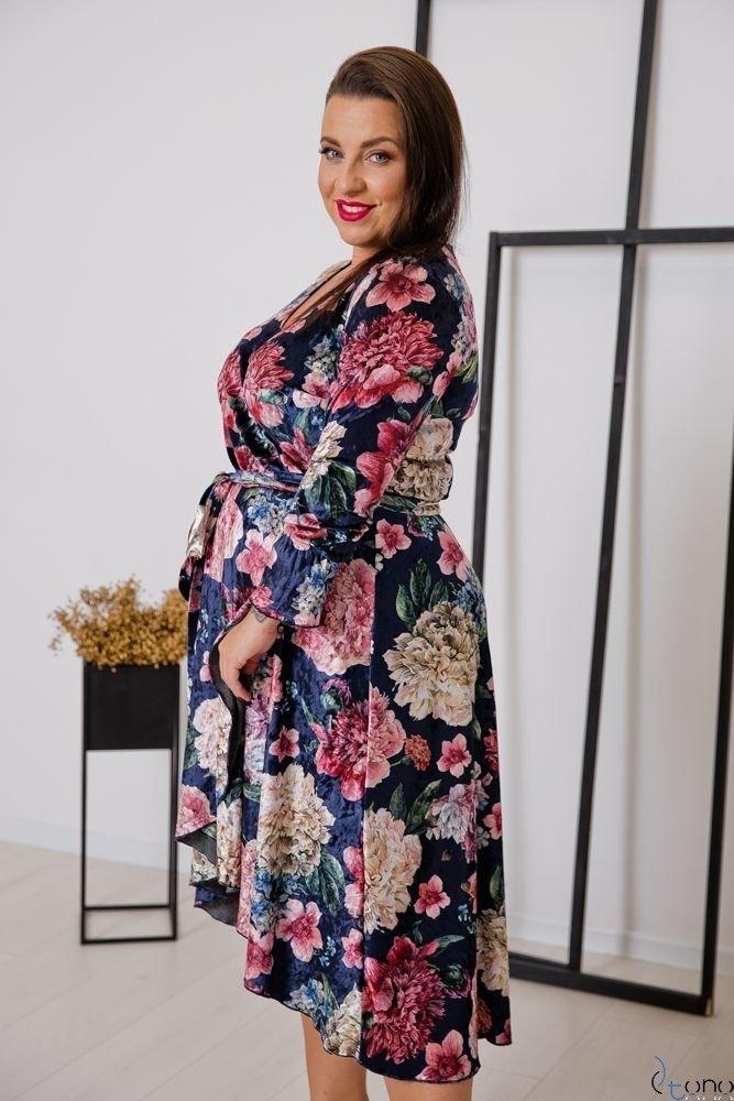 Granatowa Sukienka RETTA Plus Size