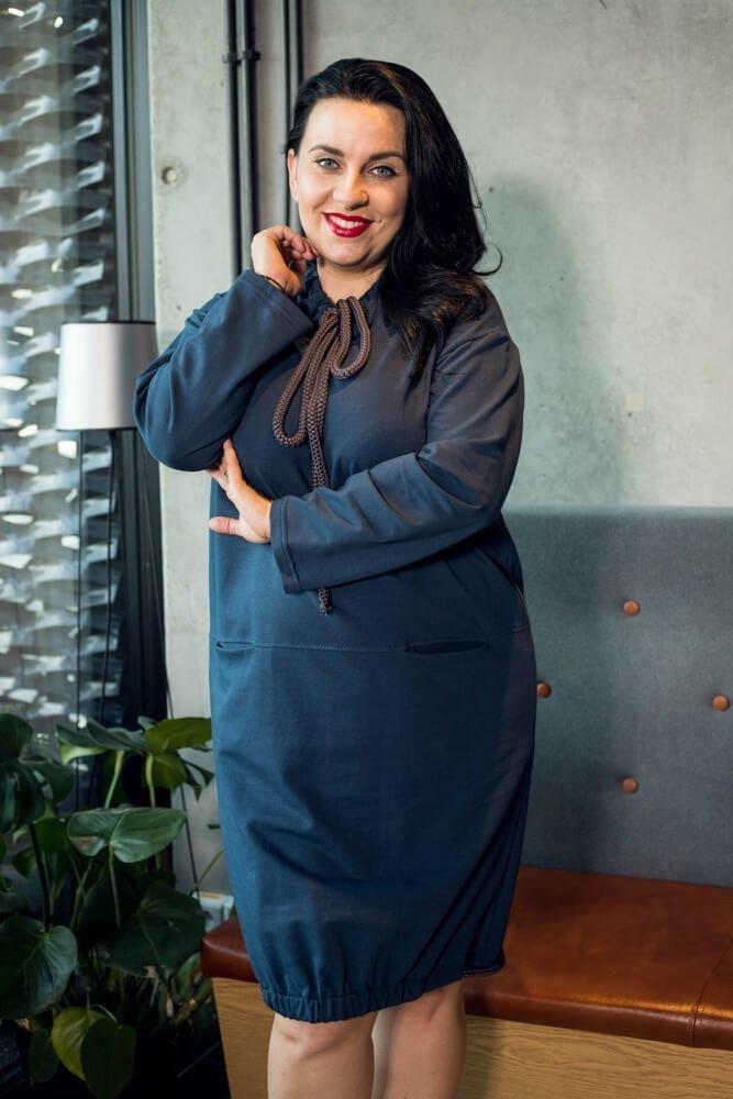 Granatowa Sukienka SPOTY Casual Plus Size