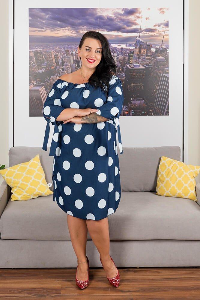Granatowa Sukienka VALENCIA Hiszpanka Plus Size Grochy