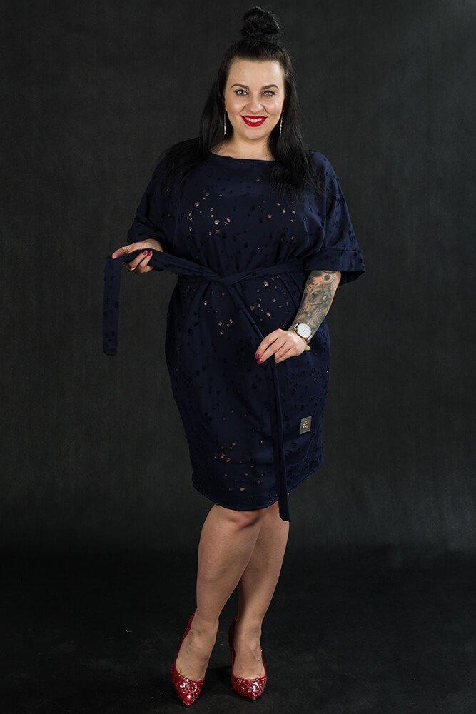 Granatowa Tunika TRAPPA Designerska Plus Size