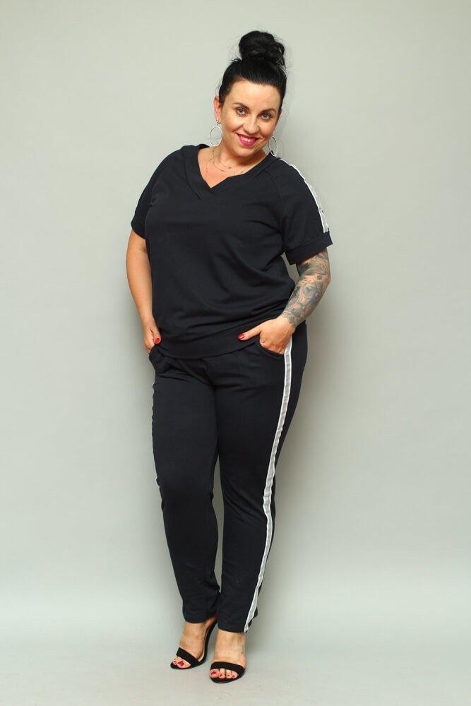 Granatowe Spodnie ASTRA Dresowe Plus Size