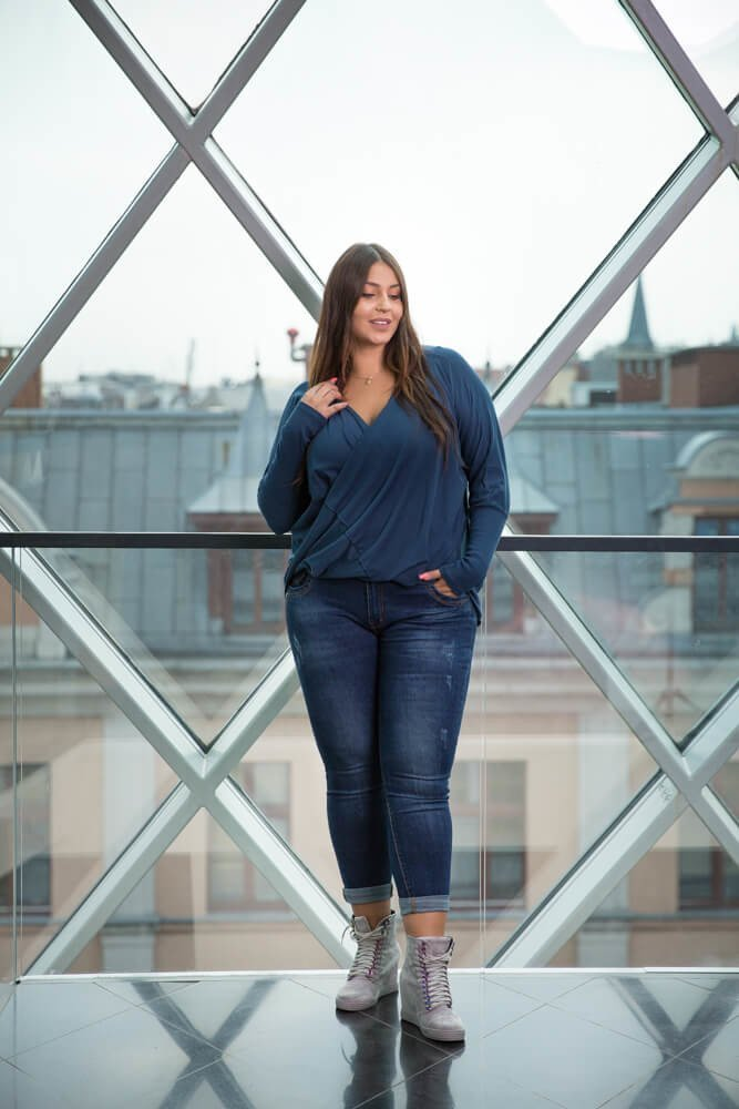 Granatowe Spodnie VETRA Jeans Plus Size