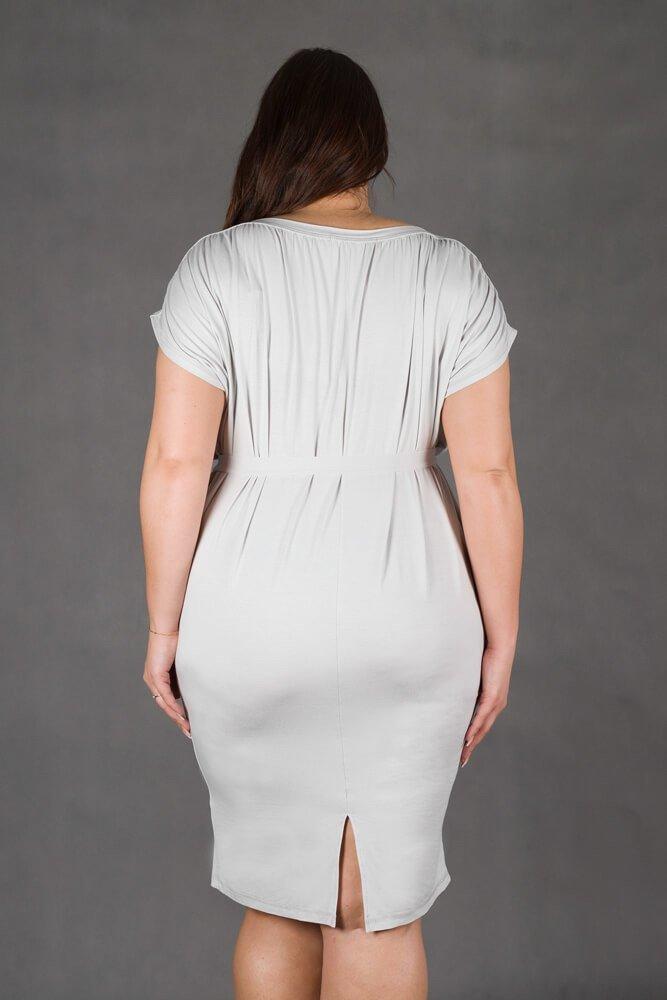 Jasno Szara Sukienka SEMPRE Plus Size Drapowana
