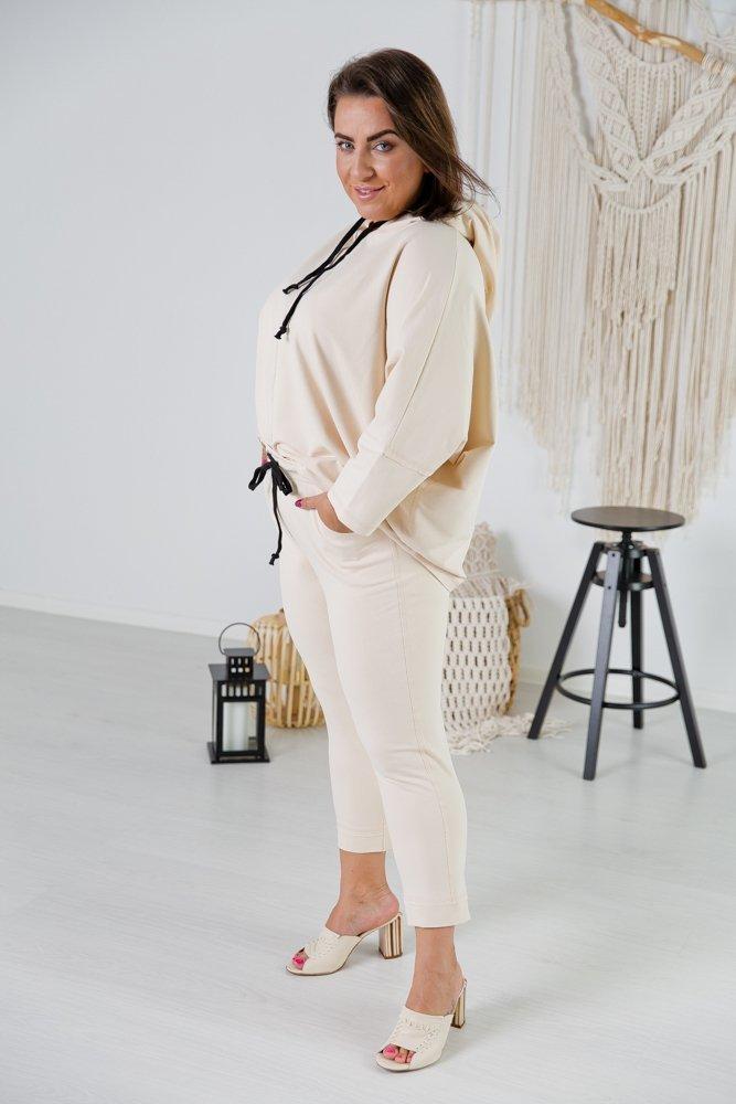 Jasnobeżowy Komplet Dresowy KARDI Plus Size