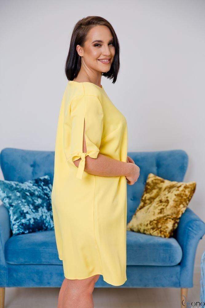 Jasnożółta Sukienka SAFANA Plus Size