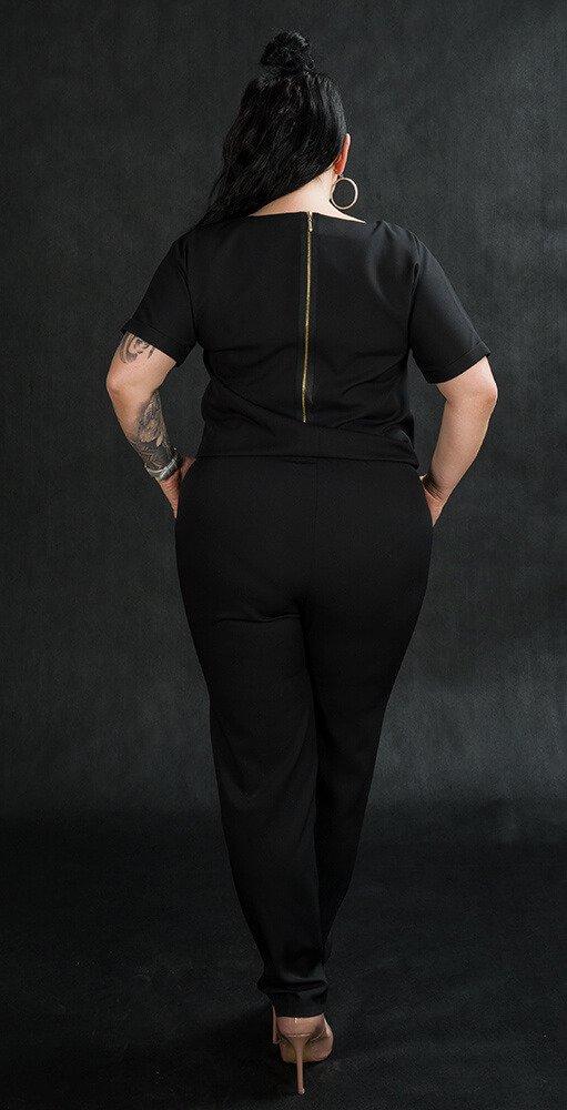 Kombinezon NERRA Elegancki Plus Size Czarny