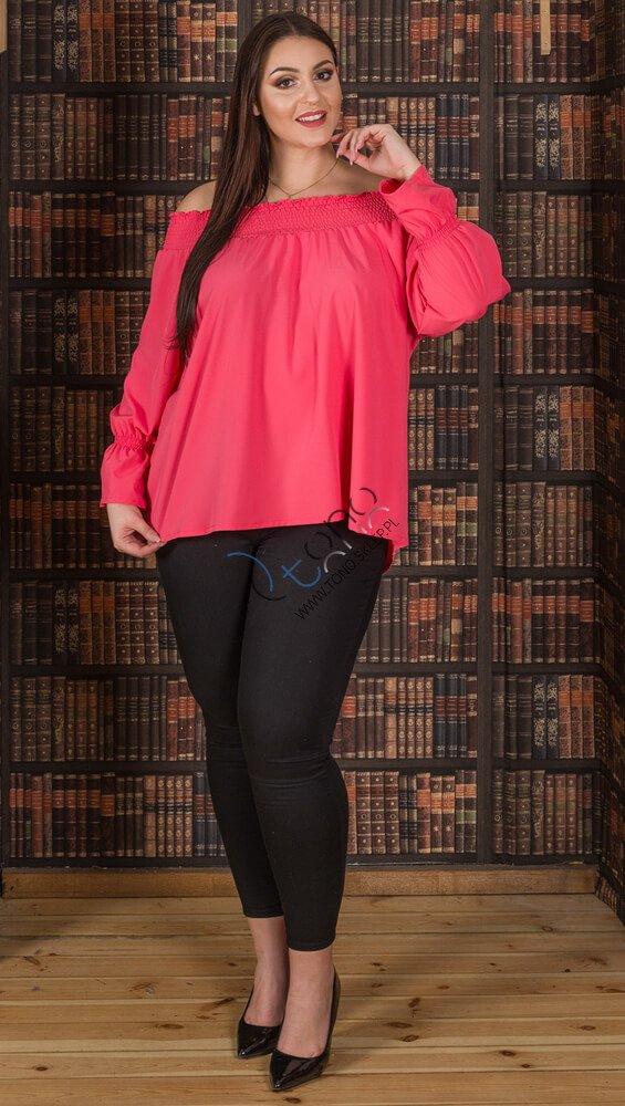Koralowa bluzka damska GRANADA hiszpanka plus size