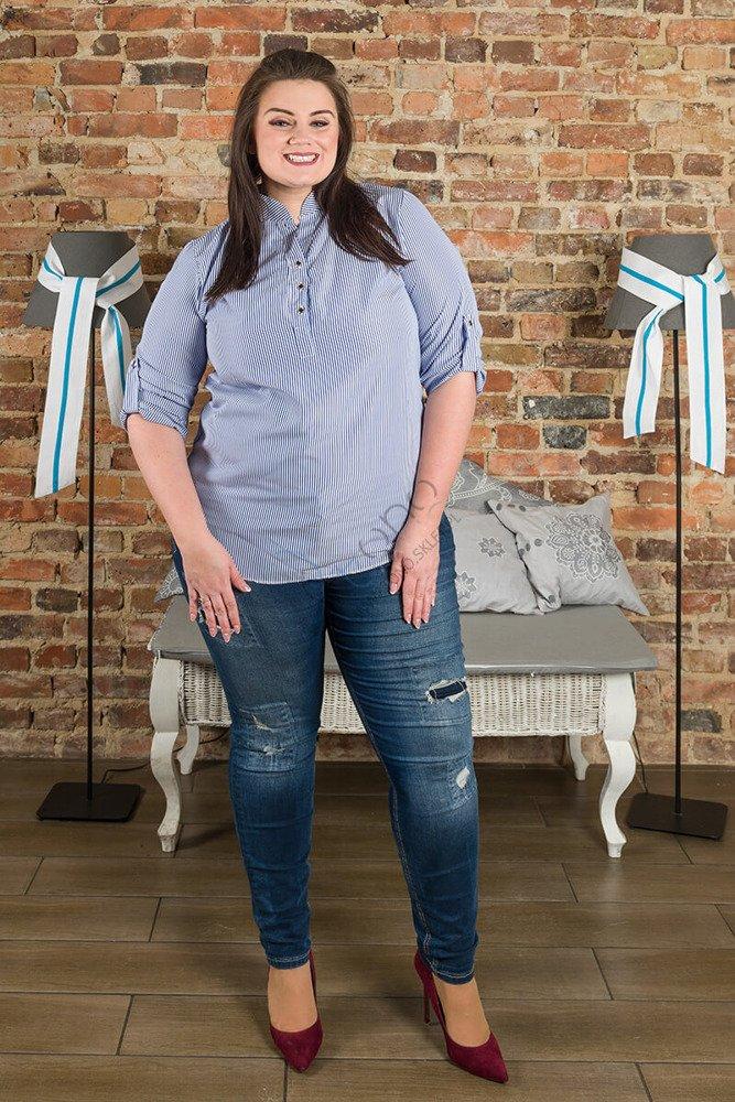 Koszula damska CALZA Paski duży rozmiar niebieski