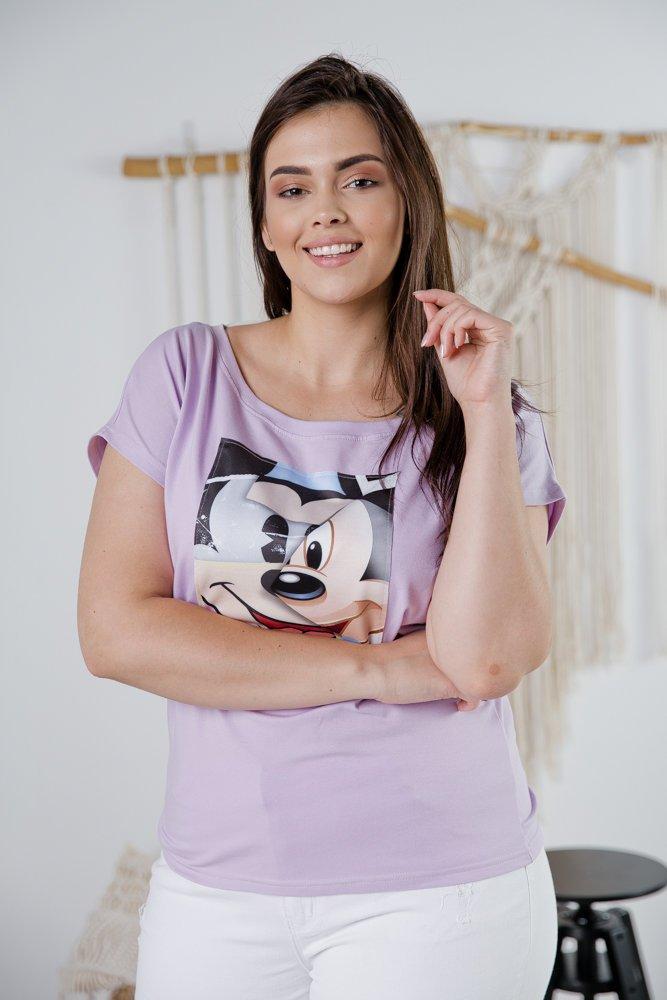 Liliowa Bluzka MOZANA Plus Size