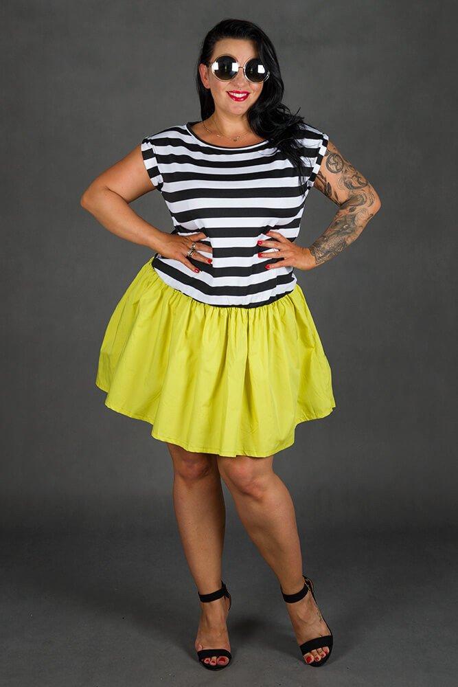 Limonkowa Sukienka PLAYA Mini Plus Size