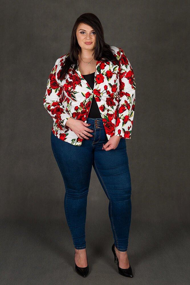 Marynarka damska ALYSIA Plus Size Kwiaty
