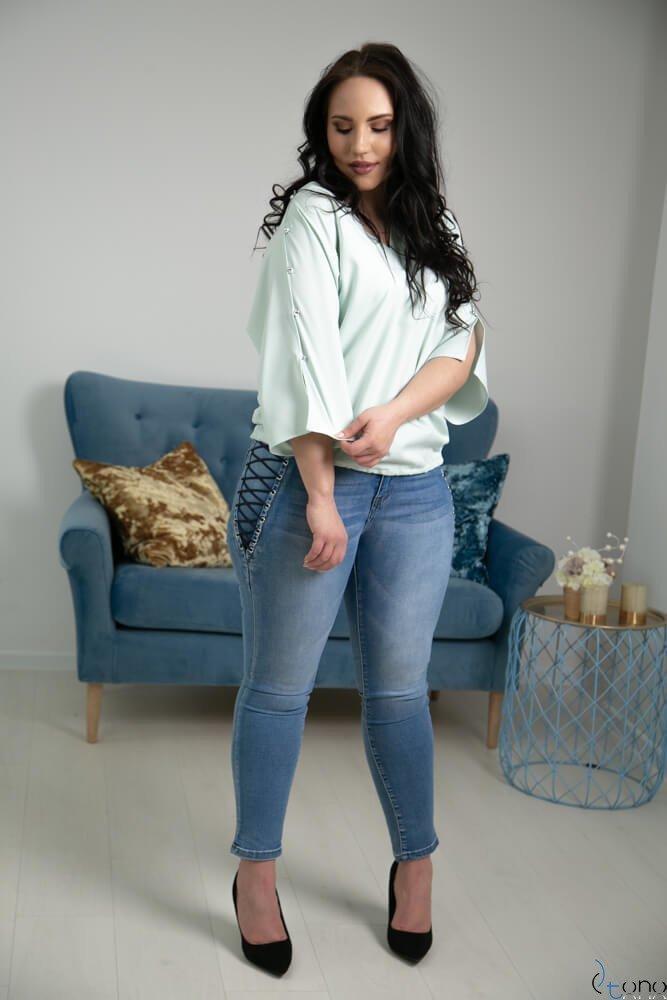 Miętowa Bluzka PERSY Plus Size Elegancka