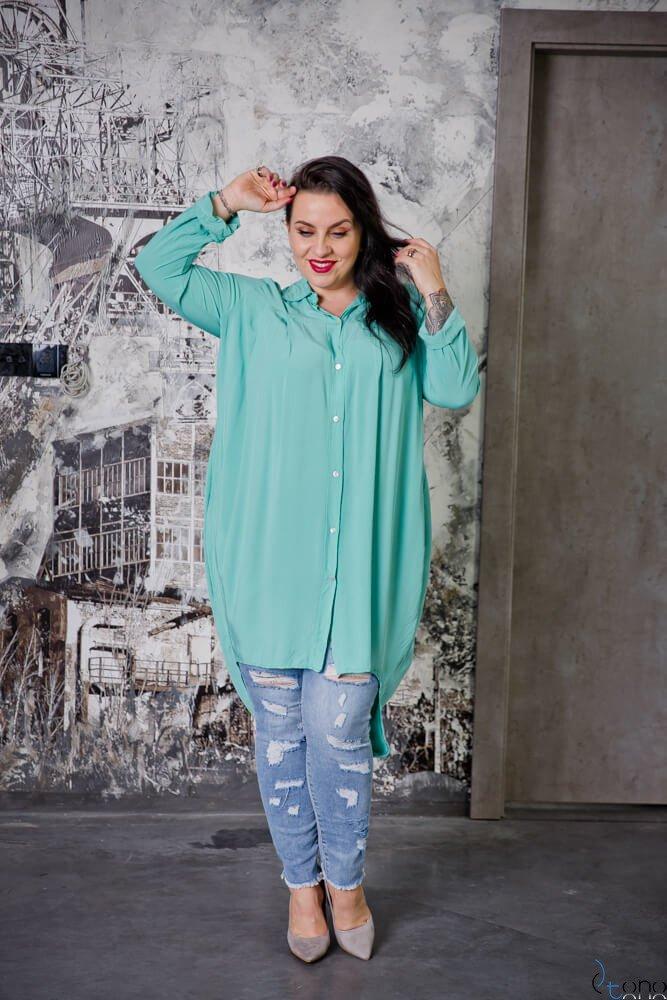 Miętowa Koszula LUNGA Plus Size