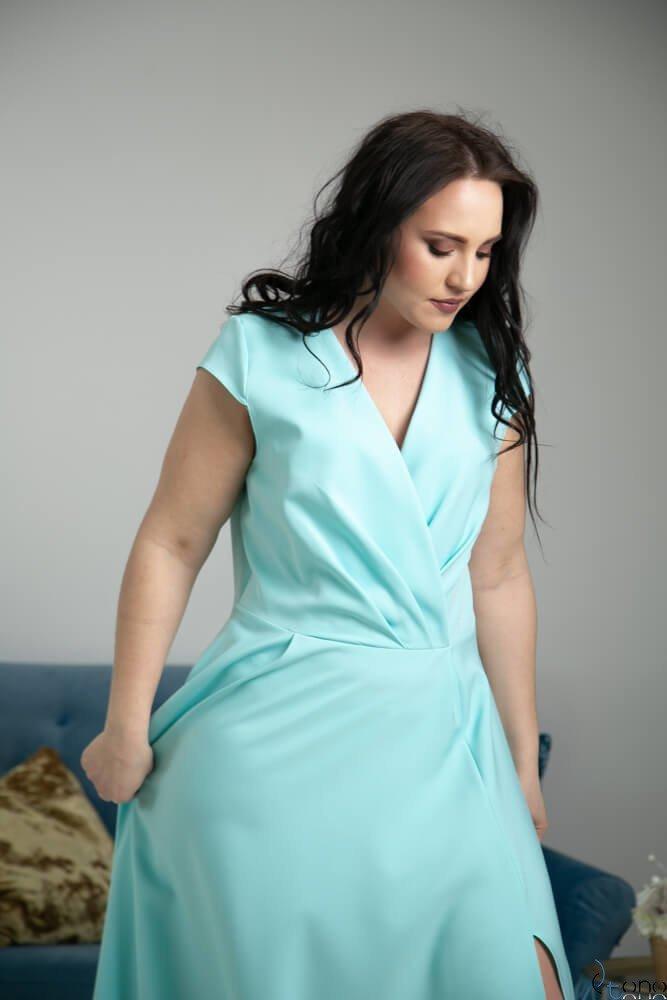 Miętowa Sukienka LOREDANA Plus Size