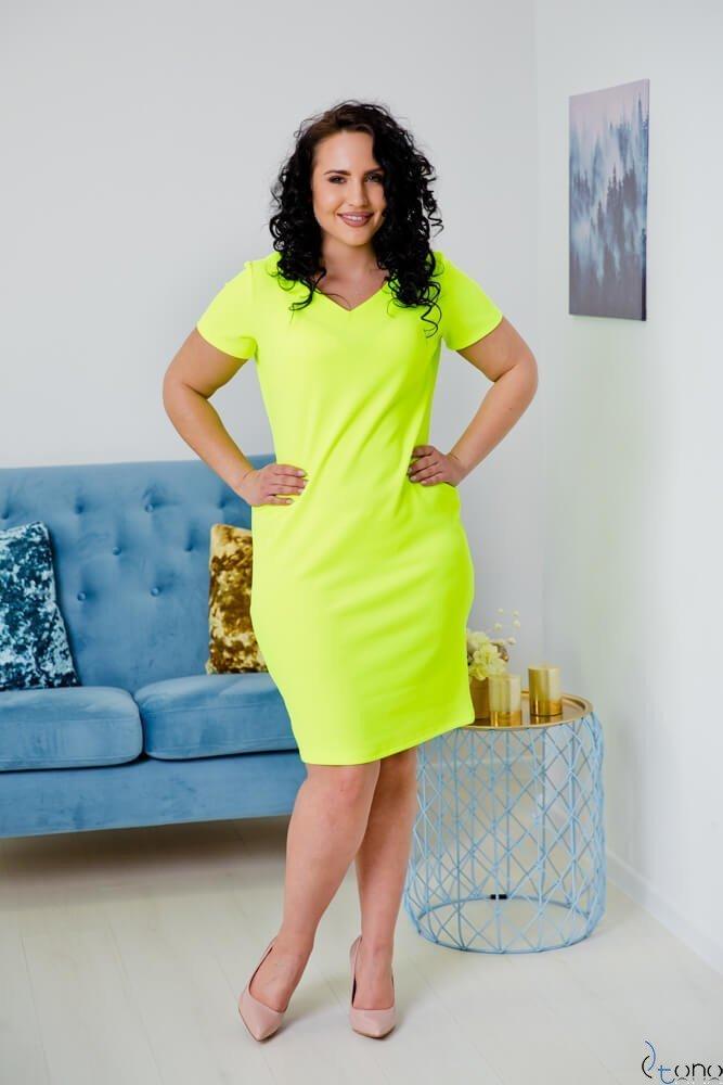 Neonowo-żółta Sukienka CARISMA Plus Size
