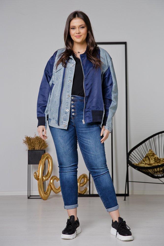 Niebieska Kurtka Jeansowa SENA Plus Size