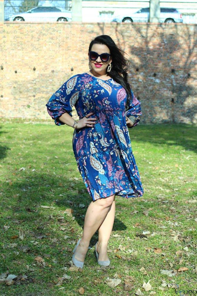 Niebieska Sukienka KALINA Plus Size