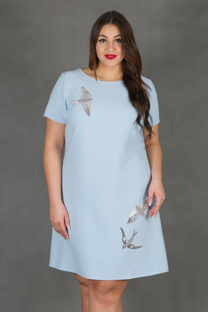 Niebieska Sukienka MOCCA Trapezowa Plus Size